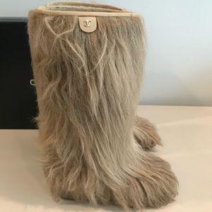 Chanel Fur Boot Heel Wedge Warm Comfy Runway